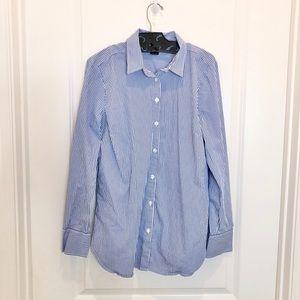 Ann Taylor Blue Stripe Button Down Shirt